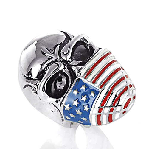 AmDxD Titanstahl Herren Ringe Schädel Amerikanische Flagge Trauringe Heiratsantrag Bandringe Silber Gr.67 (21.3) -
