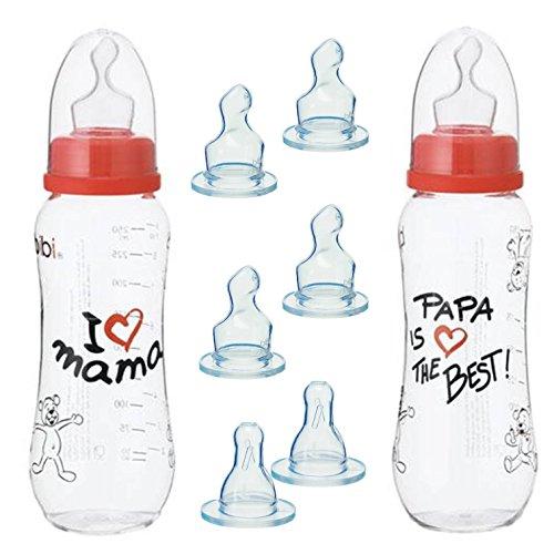 "'Bibi Swiss ""Papa Is The Best"" y ""I love Mamá 2x Baby Botella, anti"