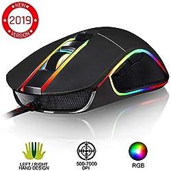 KLIMTM AIM Souris Gamer - Souris de Jeu Chroma RGB USB Filaire - 500-7000 DPI - Boutons Programmables - Confortable pour Toute Taille de Main Ambidextre Excellent Grip Gaming PC PS4 Xbox One - Noir