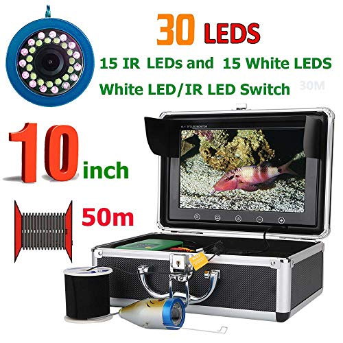 Price comparison product image RHX Underwater visual fishing device,  10 inch double lamp 50 m inch intelligent sports underwater 9 inch TFT Color LCD Hd Monitor cold water HD underwater video recorder monitoring system