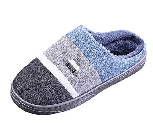 SK Studio Invernali Pantofole Peluche Dona Uomo Antiscivolo Chiuse Scarpe Per Casa Grigio