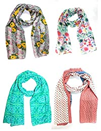 Sri Belha Fashions Combo Set Of 4Summer Trendy Soft Poly-cotton Printed Women's Scarf, Scarves (Multiple Prints...