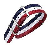 22mm Bleu/Blanc/Rouge de Premium de Style NATO Le Sport Robuste en Nylon Exotique Poignet Hommes Bracelet Bracelet