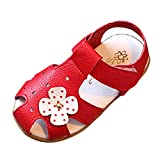 Halijack Summer Kids Children Sandals, Baby Boy Girl Closed Toe Leather Ankle Strap Sandals Beach Casual Flower Shoes Unisex Toddler Soft Sole Anti-Slip Single Sneakers (UK5.5-EU21, Red)