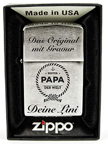 Geschenkfreude Zippo mit Gravur Chrome Standard - mit persönlicher Wunschgravur graviert - Zippo Gravur Benzinfeuerzeug