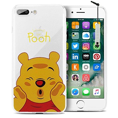 """VComp-Shop® Transparente Silikon TPU Handy Schutzhülle mit Motiv Cartoon Disney für Apple iPhone 7 Plus 5.5"""" - Stitch Winnie the Pooh + Mini Eingabestift"""