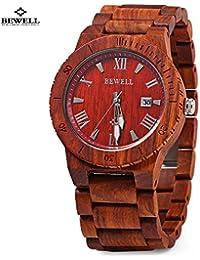 d0042e630c9a Bewell – Reloj madera ZS – w109b Hombres Reloj luminosa puntero banda de madera  Sándalo Rojo con…