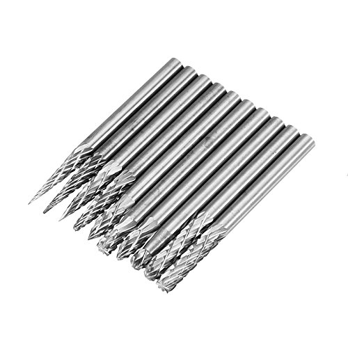 ChaRLes 10 Stücke 3X3Mm Hartmetall Burr Drill Bits Doppelte Dateien Cutter Set