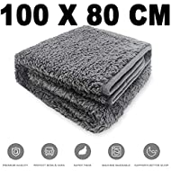 Allisandro® Washable Dog Blanket (100x80cm, Grey) for Cats Puppys Soft Warm Using Premium Fluffy Sherpa Pet Blanket Pet Throw