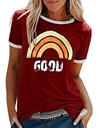Camiseta Mujer, Verano Moda Arcoiris Impresión Manga Corta Blusa Basic Camisa Cuello Redondo Basica Comodo Original Elegante Camiseta Suelto Tops Casual Fiesta T-Shirt tee