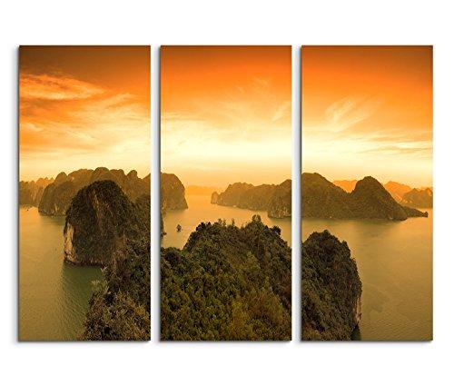 Sinus Art Leinwandbild 3 teilig je 40x90cm Landschaftsfotografie – Sonnenaufgang an der Halong Bay in Vietnam