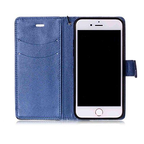 Custodia Cover iPhone 7/8,Ukayfe Flip Cover Wallet Case Custodia per iPhone 7/8 in pelle PU,iPhone 7/8 Lussuosa Astuccio Custodia Cover [PU Leather] [Shock-Absorption] Protettiva Portafoglio Cover Cus Nero + Blu