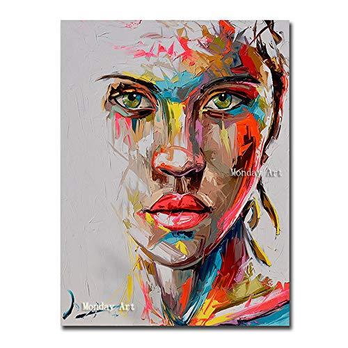 WunM Studio Ölgemälde Auf Leinwand Handgemalt,Abstrakte Bild Malen, Rote Lippen Sexy Frau Gesicht,Große Professionelle Kunst Wand Dekor Für Wohnzimmer Schlafzimmer Hotel Cafe, 80 X 120 cm