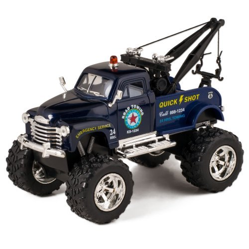Blue 1953 Chevy Off-Road Wrecker Die Cast Tow Truck Toy with Monster Wheels by Kinsmart - Truck Diecast Tow