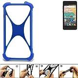 K-S-Trade Bumper für Archos 45b Neon Silikon Schutz Hülle Handyhülle Silikoncase Softcase Cover Case Stoßschutz, blau (1x)