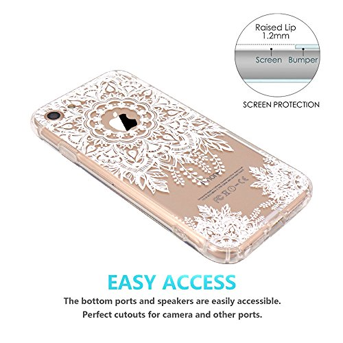 iPhone 7 Hülle, JIAXIUFEN TPU Silikon Schutz Handy Hülle Handytasche HandyHülle Etui Schale Schutzhülle Case Cover für Apple iPhone 7 / iPhone 8 - Rose Flower Floral Mandala Totem