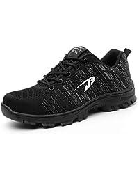 a48737ff9a Zapatos de Seguridad para Hombre Transpirable Ligeras con Puntera de Acero  Zapatillas de Seguridad Trabajo,