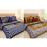 Combo Bedsheets For Double Bed Cotton 100% Jaipuri Cotton Combo Set Of 2 Double Bedsheets With 4 Pillow Covers