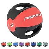 MSPORTS Medizinball Premium mit Griffe 1 - 10 kg - Professionelle...