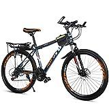 KP&CC Bicicleta De Montaña Adulto Estudiante Velocidad Variable Vehiculo Todoterreno, Parte Delantera Y Trasera Frenos De Disco para Hombre Y Mujer,Naranja