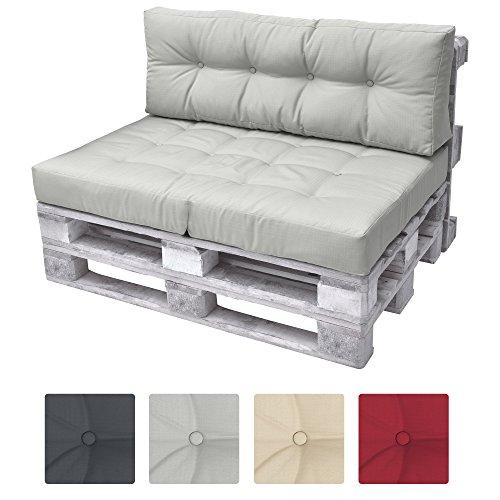 Galleria fotografica Beautissu Cuscino spalliera divano pallet ECO Elements 120x40x10-20cm - per divani con bancali di legno - grigio chiaro