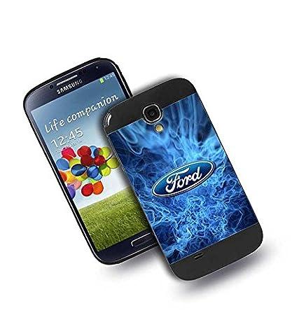 Samsung Galaxy S4 (I9500) HüLle Retro Look Marke Case, Ford Car Logo-gold Luxus (Queen Hardcase) Ultra DüNn Matt Rot marke HüLle für
