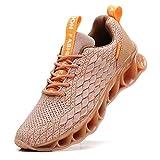 TSIODFO Sport-Sneaker für Herren, Netzstoff, atmungsaktiv, für Jugendliche, große Jungen, Wanderschuhe, Schwarz/Weiß/Rot, Schwarz (50 Brown), 39.5 EU*