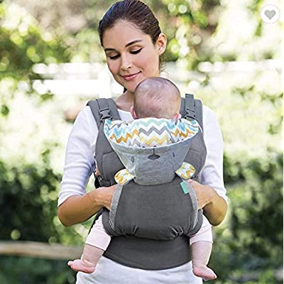 Ergonomic Baby Carrier by CBO Group. Baby Carrier Suitable for New Born to Toddler. Best for Front and Back Carrying with Removable Hood Protector. Outer Fabric Grey Natural 100% Cotton.