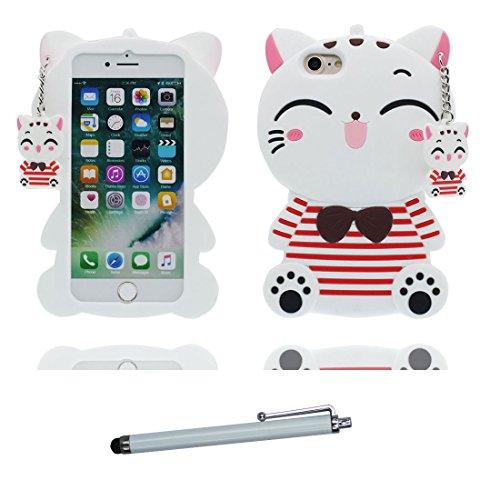 """iPhone 6 Plus Coque, 3D Cartoon Panda Banboo Cover iPhone 6s Plus étui (5.5 pouces) TPU souple Shell iPhone 6 Plus Case (5.5"""") poussière glissement résistant aux rayures et stylet blanc"""