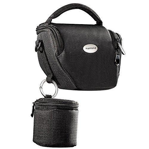 MANTONA VARIO DUO schwarz kompakte System Kameratasche mit Schultergurt und separatem...
