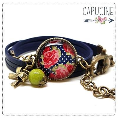Bracelet bleu marine avec cabochon verre fleurs - bracelet breloques bronze - bracelet multi-rangs - bracelet shabby chic n°1 - cadeau de noël, cadeau saint valentin, cadeau fête des mères