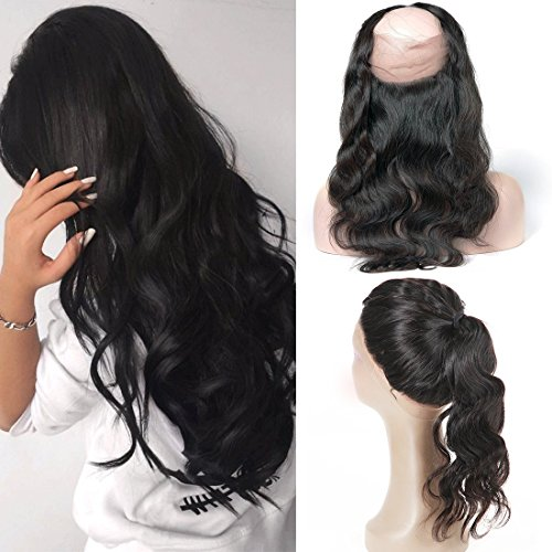 360 Frontal Closure Full Lace Virgin Peruvian Body Wave Pre Plucked with Baby Hair Haare Extensions Natural Echte Bresiliennes Hair (14(360))