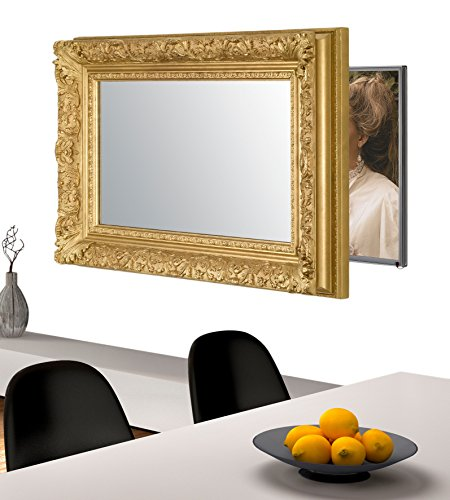 Handmade Framed Mirror to Turn Your Existing TV to Hidden Mirrored Television that Blends into Your Home or Business Decor (55 Inch, Barbican Gold)