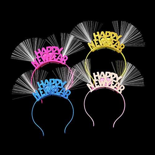"""Cuigu Schöne LED Haarband, Glitter Fiber Optic Ear Head Decor,""""Frohes Neues Jahr"""" Applique Blinklicht Stirnband Weihnachten Party Supplies Für Frauen Mädchen, Zufällige Farbe"""