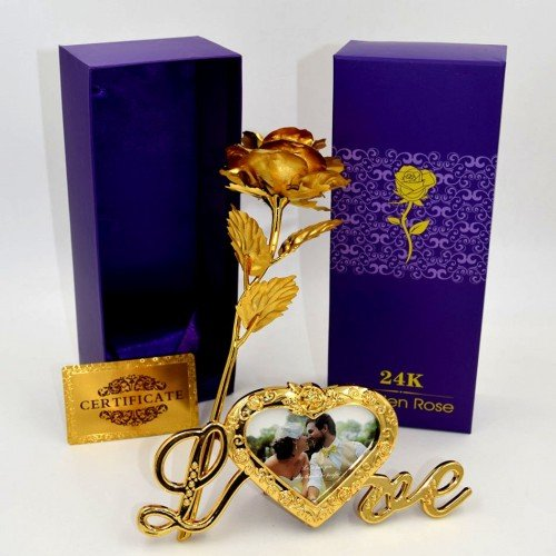 Far Vision 24K Gold Rose With Love Photo Frame,Gift Box And Carry Bag