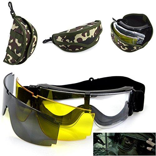 Tactical Airsoft Schutzbrille, Airsoft Paintball Shooting Schutzbrille Brille, Schutz Eyewear mit 3austauschbaren Multi Lens (schwarz + transparent + Gelb), mit Camo Tragetasche