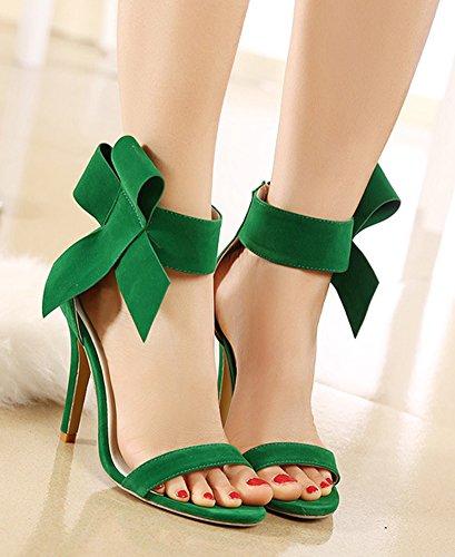 Aisun Femme Chic Nœud Papillon Bout Ouvert Sandales Vert