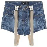 Mädchen Kurze-Hose Girl Bermuda Shorts Hosenträger Capri Hot-Pants Jeans 21305, Farbe:Blau;Größe:152