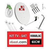Diesl.com - Kit Parabolique 60cm + LNB + Support d'antenne + 25 mètres de câble + Goujons de mur + 2x F Connecteurs + 10x Brides + 25x Agrafes