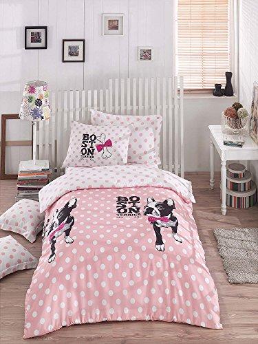 Luxus Bettwäsche Set 2-teilig Baumwolle Rich Hohe Qualität Leinen Bettbezug Pink Fuchsia Schwarz Weiß Mädchen Jungen Erwachsene Mops Chihuahua Boston Terrier Cartoon Bone Pink Bow Tie Schleife 155x200 Weiß Bow Tie Set