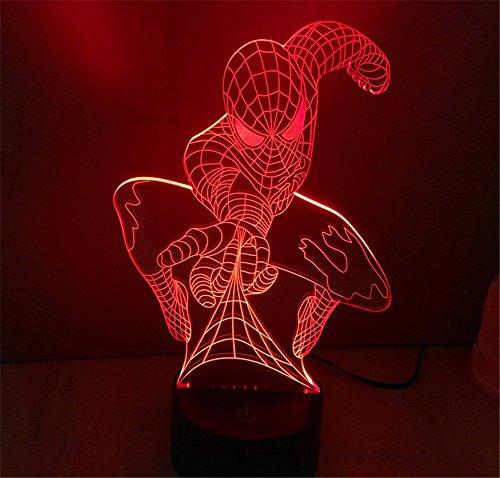 he T?uschung Spider Man Nacht 7 Farbwechsel USB Touch Taste Spider Man LED Licht Lampe Tischleuchte (Gelbe Spiderman)