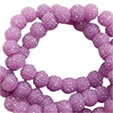 Sadingo Acrylperlen, Kunststoffperlen Glitzernd - Sparkling Beads - Funkelnde Perlen - 8 mm - 10 Stück - Farbe wählbar, Farbe:Lavendel
