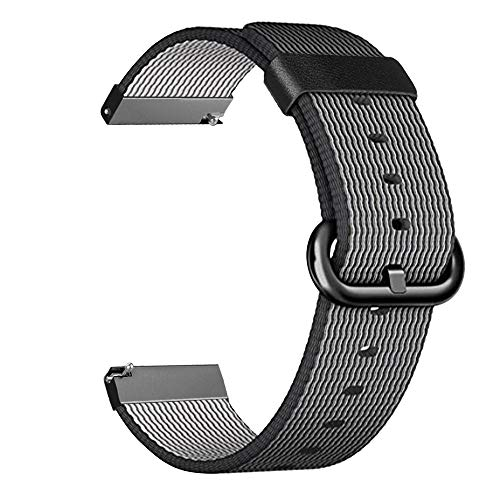 Fintie Armband kompatibel für Samsung Galaxy Watch 46mm / Gear S3 Frontier/Gear S3 Classic/Huawei Watch GT - Premium Nylon UhrBand Uhrenarmband Ersatzband Replacement, Schwarz