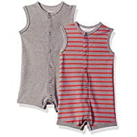 Hanes Ultimate Baby Flexy 2 Pack Sleeveless Rompers, Red/Grey Stripe, 12-18 Months