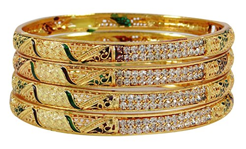Matra Gold Tone Kada 4 Stück Kada Armreif Set Designer Armbänder Schmuck 2 * (Designer Modeschmuck)