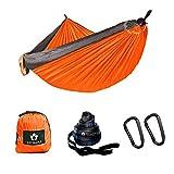 Ancmaple Camping Hängematte mit speziellen Baum-schonenden Gurten. Tragbare Hängematte aus Fallschirm-Nylon für Rucksack Reisen (Orange/Grau)