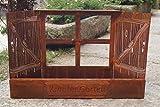 Dekostüberl Edelrost Fenster Kräutergarten 61x39cm Pflanzkasten Fensterladen in Holzoptik