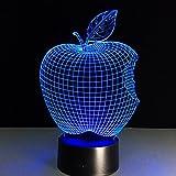 GZXCPC Apple 3D LED Illusion Nachtlampe, 7 Farbwechsel Lichter mit Acryl Flat & ABS Base & USB Ladegerät Kreative Dekoration
