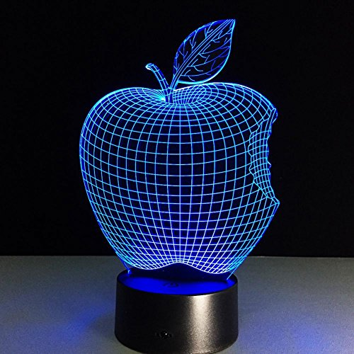 GZXCPC Apple 3D LED Illusion Nachtlampe, 7 Farbwechsel Lichter mit Acryl Flat & ABS Base & USB Ladegerät Kreative Dekoration (Tippen Led-licht)