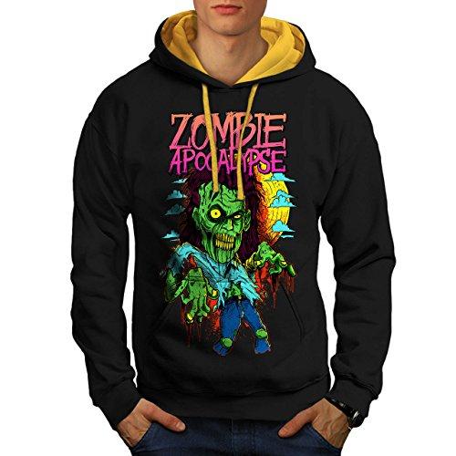 Zombie Apokalypse Horror Herren M Kontrast Kapuzenpullover | (Zombie Asyl Apokalypse)
